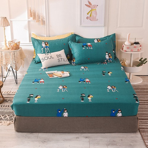 (New On Product) 1pcs 100% Cotton Printing bed mattress set with four corners and elastic band sheets(pillowcases need order) 18