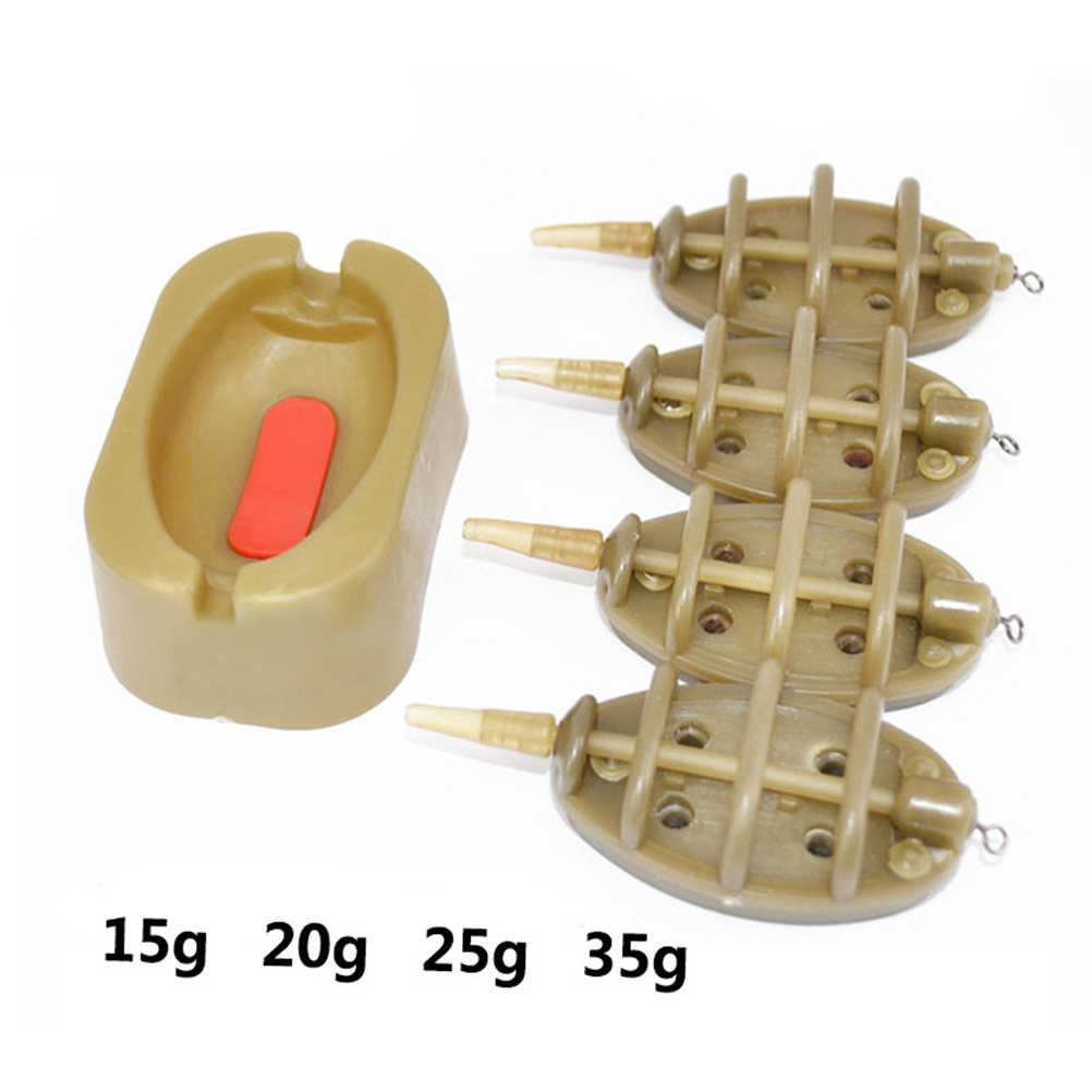 1 Set sazan balıkçılığı Inline yöntemi besleyici kurşun seti 4 besleyiciler 15/20/25/35 kalıp Set sazan balıkçılığı aksesuarları (küçük boyut)