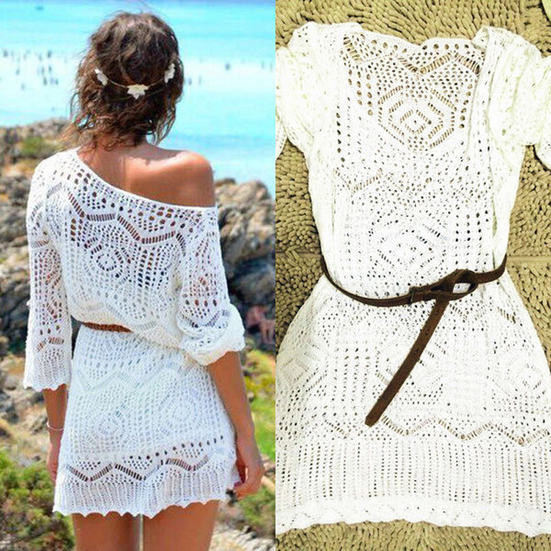 Crochet Tunic Swimsuit Bikini Sarong Cover-Up Beach-Dress White Transparent Sexy Women