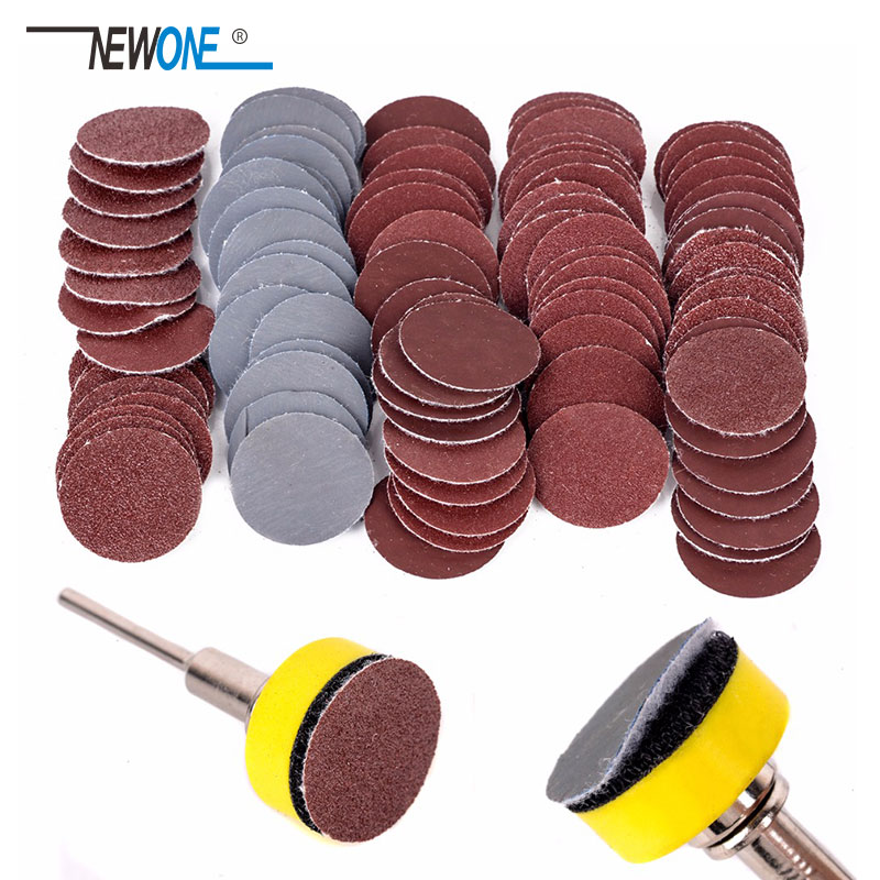 "100pcs 25mm High Quality Sanding Discs + 1"" Abrasives Hook & Loop Backer Plate + 1/8inch Shank Set For Polishing Tools"