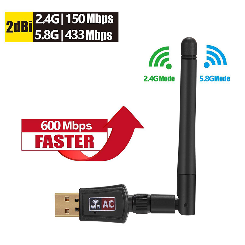 600Mbps Wireless USB Wi-Fi Adapter 2.4GHz/5.8GHz WiFi Dual Band Antenna Dongle PC Mini Computer 2dBi Network Card Receiver 802.1