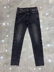 2020 Frühling Sommer Jeans Weibliche Denim Hosen Koreanische Mode Bleistift Hosen Strass Buchstaben Schwarz Runway Denim Elastische Hose