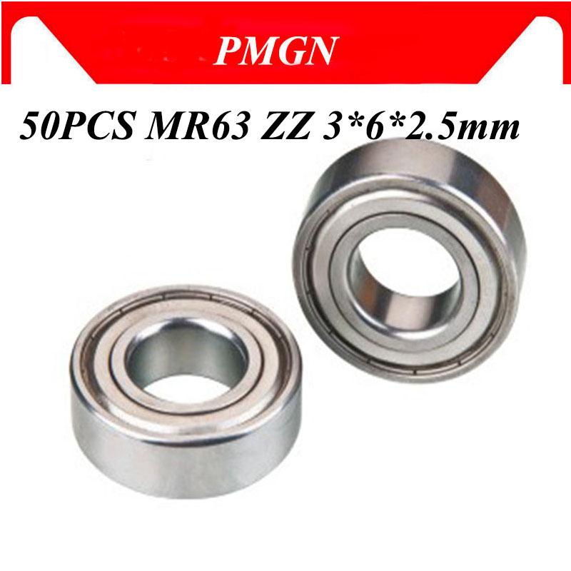 50Pcs High quality ABEC-5 MR63ZZ MR63Z MR63 ZZ L-630ZZ 3*6*2.5mm <font><b>3x6x2.5mm</b></font> Miniature Metal seal deep groove ball <font><b>bearing</b></font> image