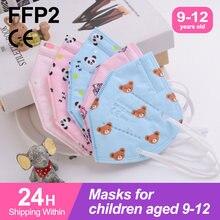 Ffp2mask niños 5 camada aprovado crianças resuable mascarillas fpp2 niños colorido menino menina respiratória mascarilla kn95 infantil
