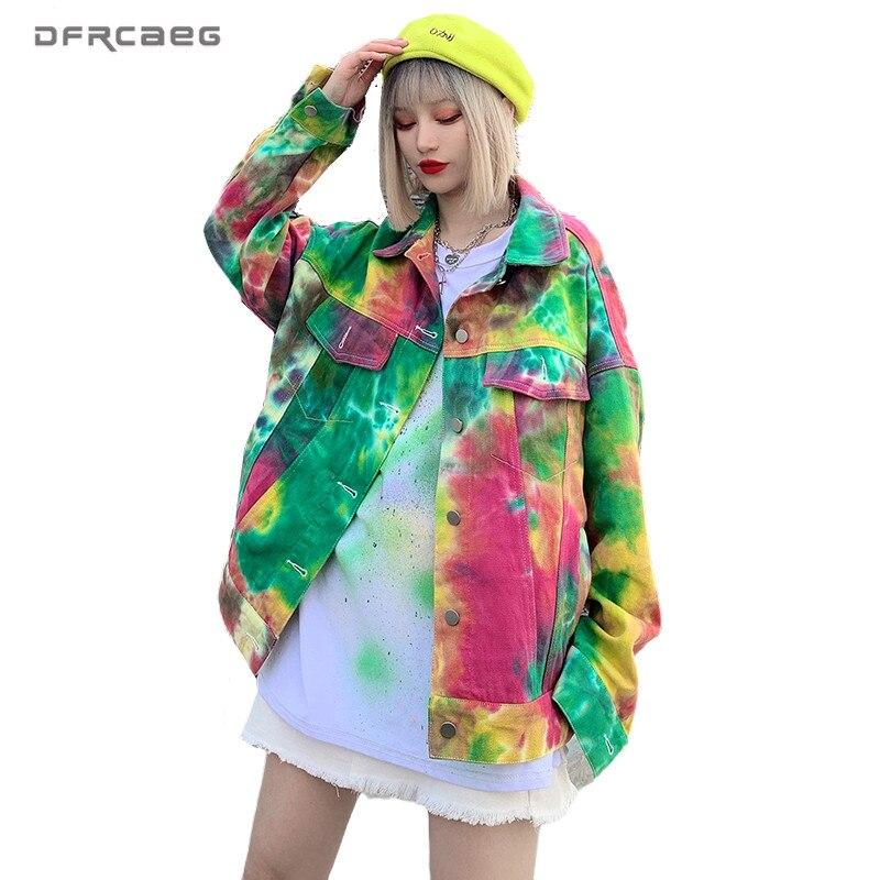 Streetwear BF Painting Graffiti Women Harajuku Jackets Denim 2020 Spring Long Sleeve Vintage Oversized Coat Jean Jackets Outwear