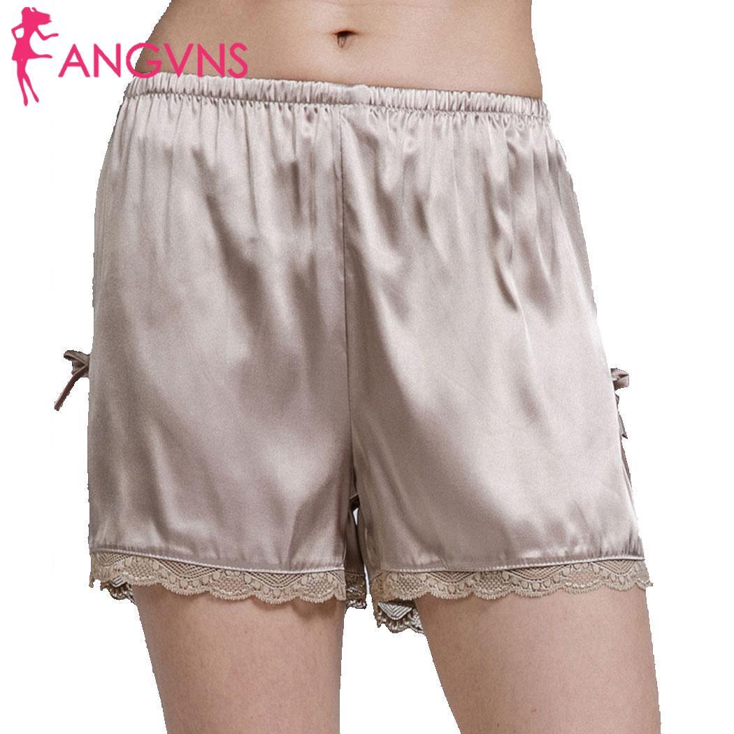 Женские повседневные однотонные шелковые атласные шорты весна/Лето пижамы низ средняя талия Пижама стандартная свободная