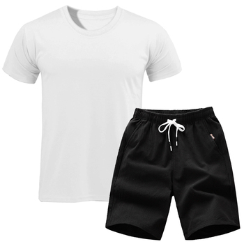 2019 Brand t shirt Men Sets Fashion Summer cotton short sleeve Sporting Suit T-shirt +shorts Mens 2 Pieces Sets casual clothing 1