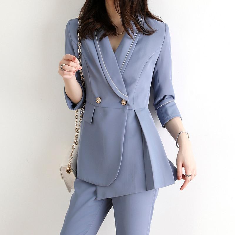 Autumn Chic Office two Piece Blazer Pant Suits Ladies Button Suit Jacket women & Straight Leg Suit Pants Female Blazer Set JK407
