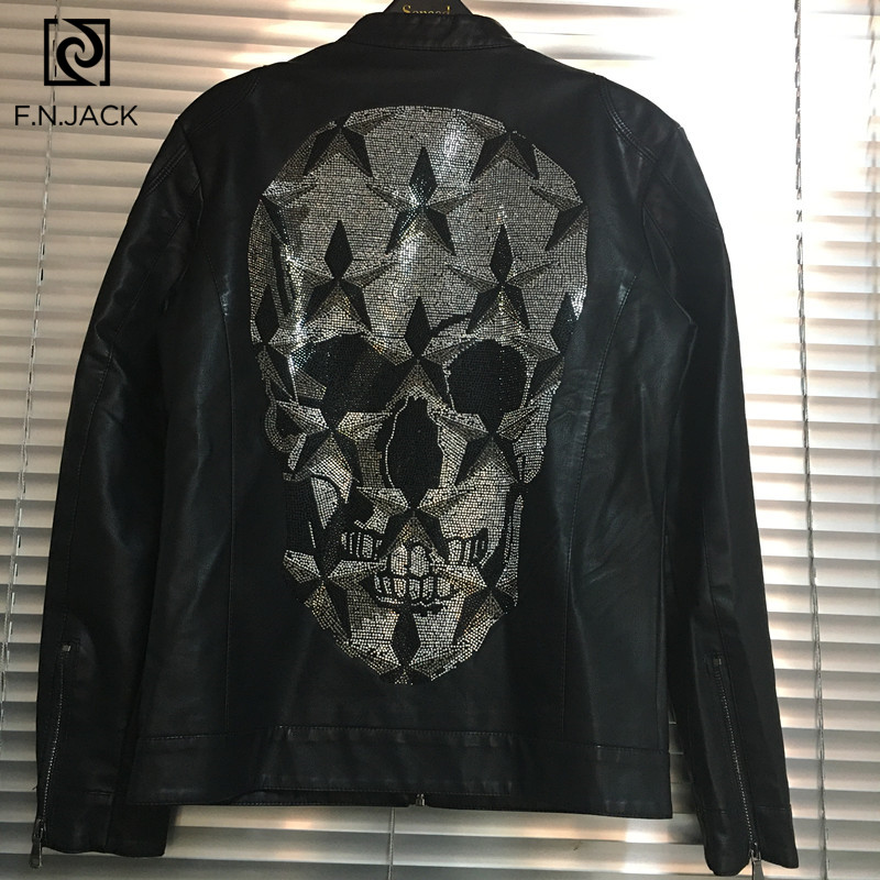 F.N.JACK Winter Coats Rhinestone Skull Leather Jacket Mens Clothes Chamarras Para Hombre Men Motorcycle Faux Leather Jackets