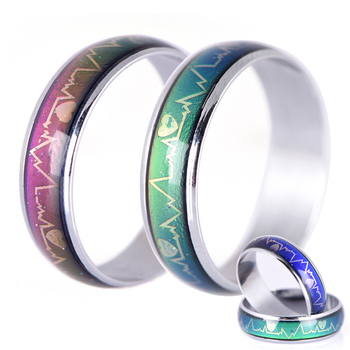 Emotion Feeling Changeable Mood Heart Rate Colorful Changing Magic Stainless Steel Couple Finger Ring Engagement Christmas Gift 1