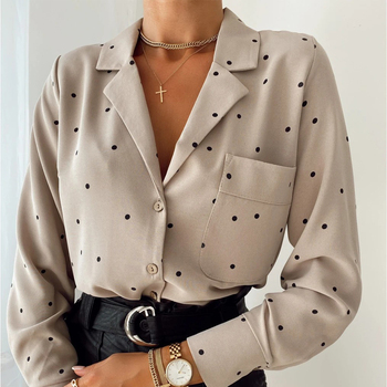 Kieszenie Polka Dot wydrukowano Casual kobiety bluzka damska z długim rękawem skręcić w dół kołnierz praca w biurze moda 2020 jesienne topy tanie i dobre opinie MOARCHO CN (pochodzenie) COTTON POLIESTER REGULAR Z KIESZENIAMI średniej wielkości Sukno QZDG-7219 WOMEN Pani urząd Dla osób w wieku 18-35 lat