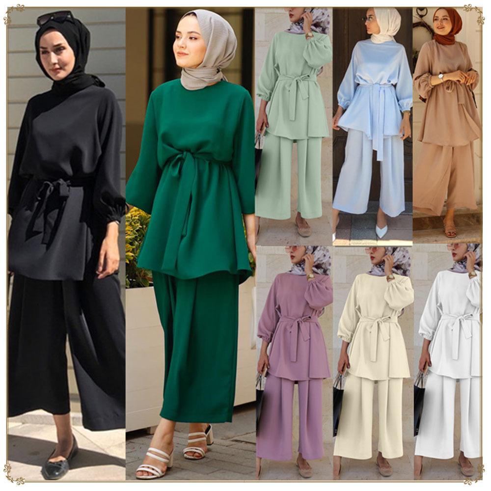 Muslim 2 Piece Sets Women Abaya Dubai Lace up Tops Wide Leg Pants Kaftan Arab Turkey African Prayer Islamic Maternity Clothes