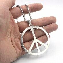 Venda quente 70cm de aço inoxidável longo sinal de paz colar camisola corrente chapeamento liga anti-guerra paz pingente colar jóias