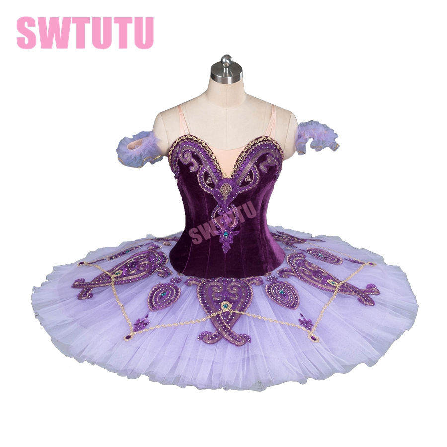 Ny ankomst lila sovande skönhet professionell balett tutu med sammet nötknäppare prestanda pannkaka balett tutuBT9085