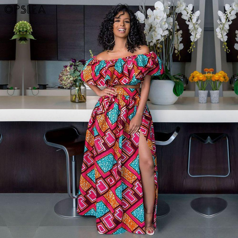 Opslea African Women Ankara Dresses Dashiki Africa Ethnic Print Elastic Skirt Fashion One-Shoulder Set Robe Africaine Femme 2019
