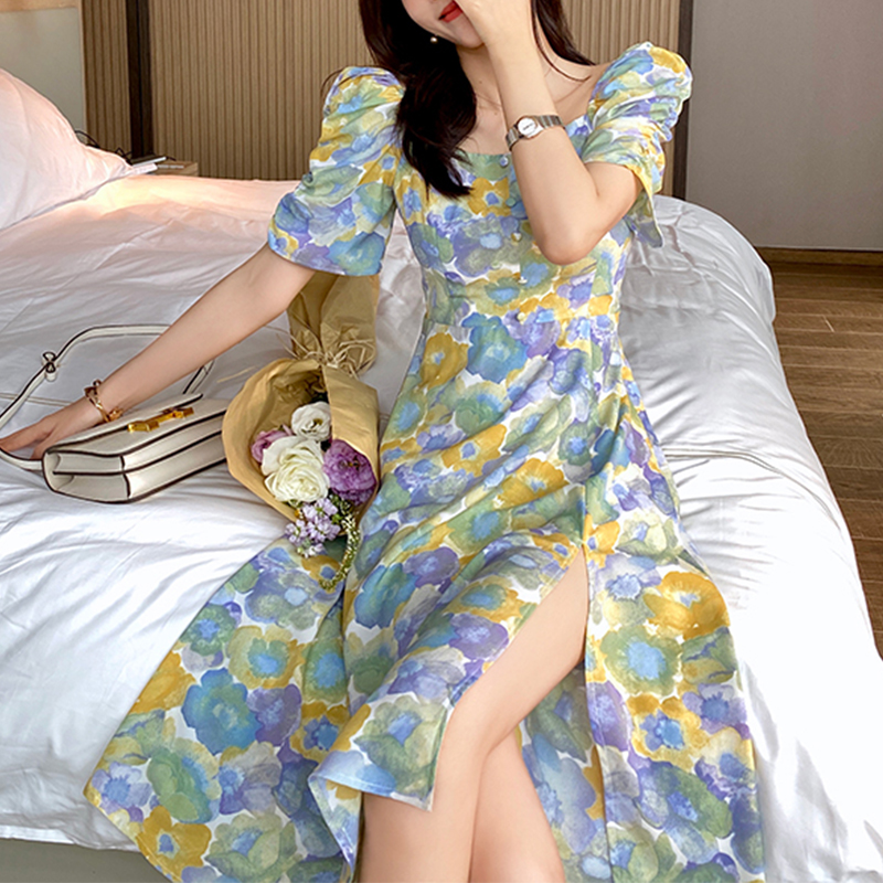 MISHOW 2020 Summer New Dresses Women Floral Printed Vintage Elegant Knee-Length Retro Female Vestidos  MX20B1040