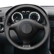 Dla volkswagena VW Golf 4 (IV) Passat B5 Polo Bora Sharan Skoda Fabia 1 (6Y) DIY czarne włókno węglowe osłona na kierownicę do samochodu