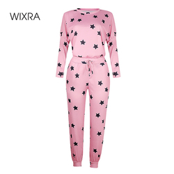Wixra Women Suits Leisure Home Wear Star Print Full Sleeve O-Neck Tops+Lace Up Long Pants 2 Piece Sets