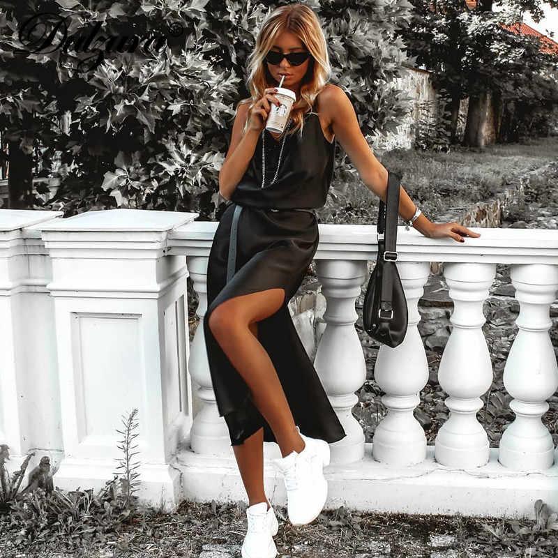 فستان حريمي ميدي من الحرير من دولزورا ذو فتحة جانبية بدون ظهر مثير ملابس للشتاء والخريف 2019 ملابس للحفلات والعشاء الأنيق