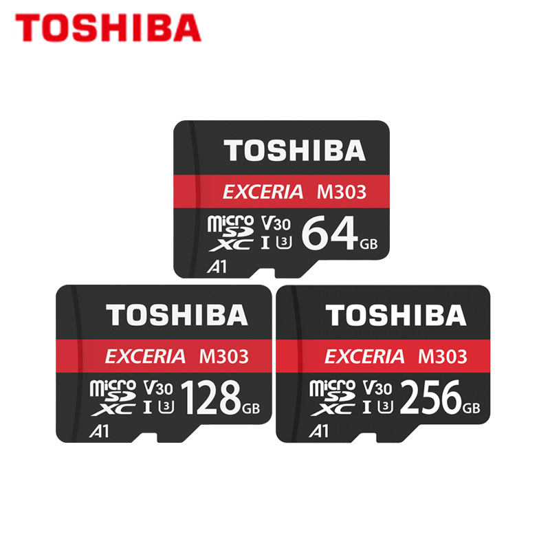 Micro SD Card TOSHIBA EXCERIA M303 256GB 128GB 64GB SDXC Memory Card A1 U3 V30 Class10 TF Card Support Official Verification