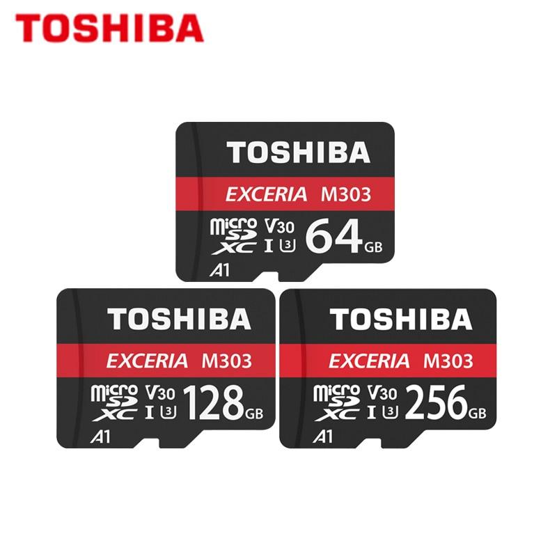 Micro SD Card TOSHIBA EXCERIA M303 256GB 128GB 64GB SDXC Memory Card A1 U3 V30 Class10 TF Card Support Official Verification