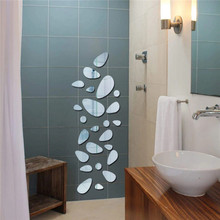 Eco-Friendly Removable Mirror Sticker Cobblestone Background Solid Wall Stickers Home Decoration DIY Decals