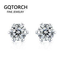 925 Sterling Silver Jewelry Classic 6 Claws Earrings For Women Moissanite Jewellery