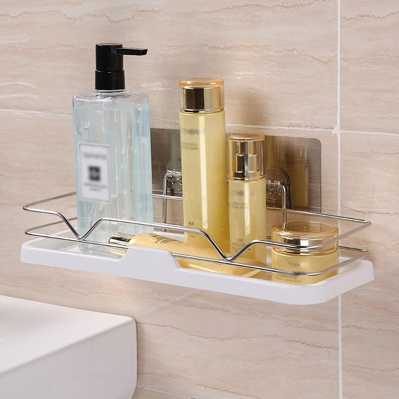 Bathroom Kitchen Wall Shelf Organizer Corner Rack Holder Sink Shower Punch-free