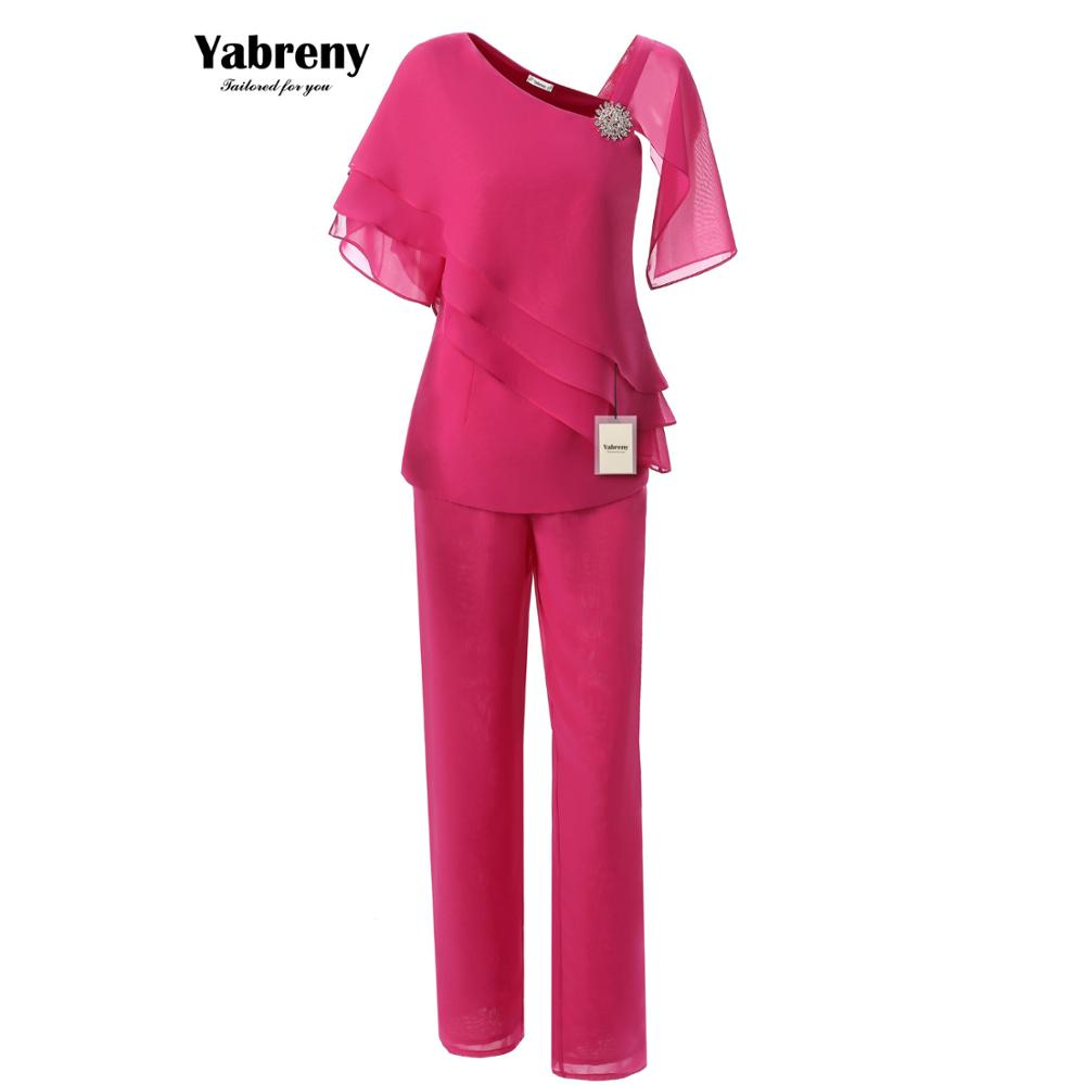 Fashion Chiffon Mother Of The Bride Pants Suit 2PC Outfit Rose Red Yabreny