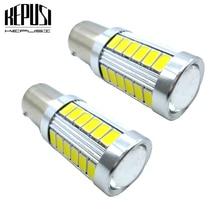 цена на 2x 1157 BAY15D P21/5W 33 SMD Tail Turn Signal lamp White led car bulbs rear brake Lights Car Light Source parking 12V LED lamps