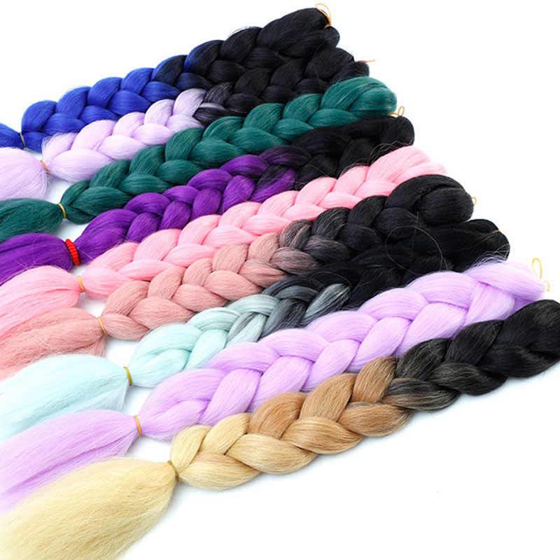 Plecionki warkocz z włosów syntetycznych długie plecionki Jumbo 24 Cal 100 g/sztuka czerwony czarny brązowy fioletowy różowy blond kolor Ombre do przedłużania włosów
