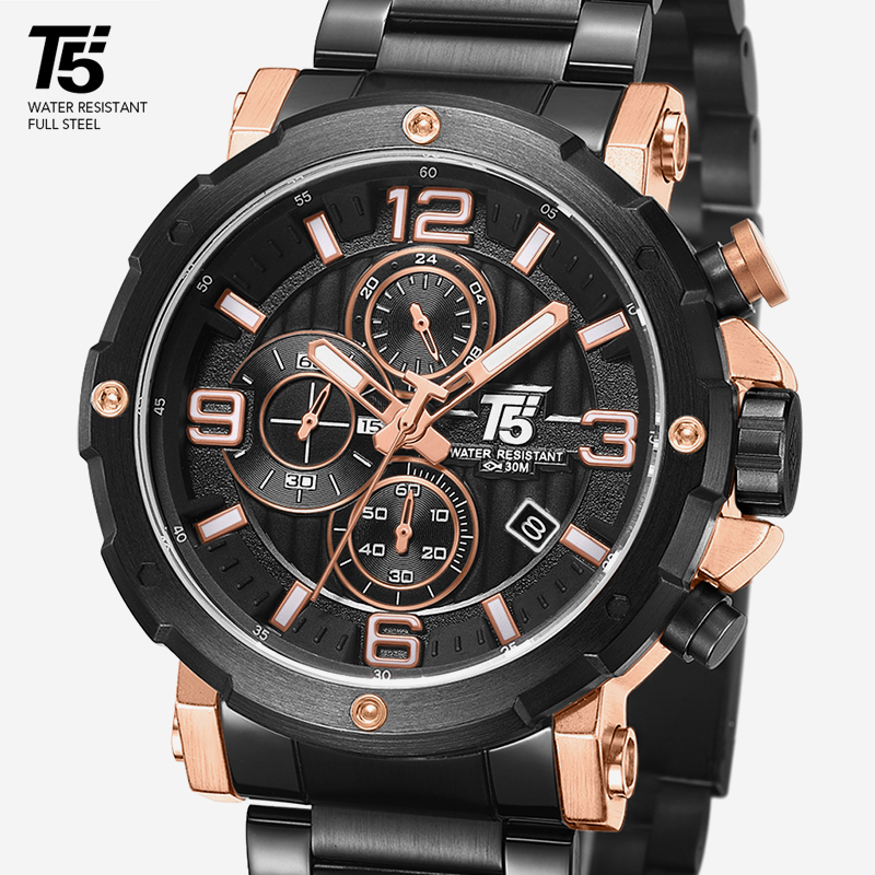 High Quality Luxury Brand Steel Band Man Designer Quartz  Chronograph Waterproof  Mens Watches Wristwatches Sport Watch Man