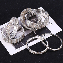 Fashion Crystal Bracelets For Women 1/2/3/4/5/6 Rows Rhinestone Elastic Bracelet Bangles Bridal Charm Wedding Party Jewelry Gift