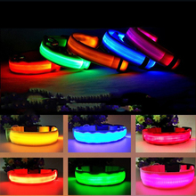 1PC LED Dog Collar Anti-Lost Nylon Light Collar For Dogs Puppy At Night Cool Pug Dog Supplies Pet Products Accessories