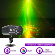 8 Holes 128 Patterns LED Disco Light Voice Control Music RGBW Laser Projector 15W LED DJ Stage Light For Wedding Party KTC Bar