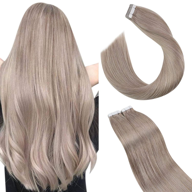 Ugeat loira fita em extensões de cabelo humano cor do cabelo #18 cinza loira fita em extensões de cabelo naturais 10 pçs 25 gramas dupla face
