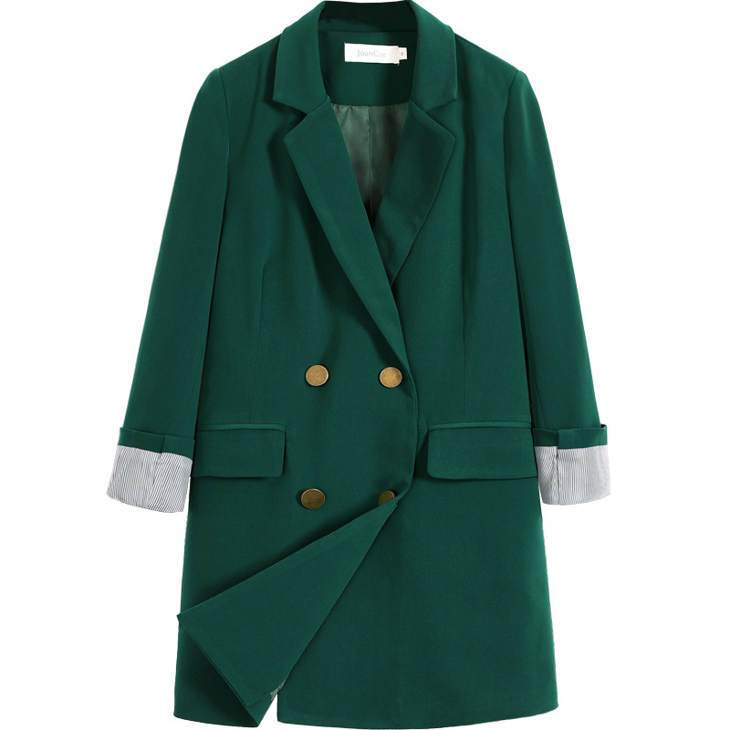 High-end ladies plus size blazer Feminine 2020 casual mid-length jacket Office jacket loose small suit green black S-5XL