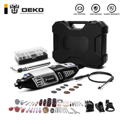 DEKO GJ201 LCD Variable Speed Rotary Tool Dremel Style Engraver Electric Mini Drill Grinder w/ Flexible Shaft Set4