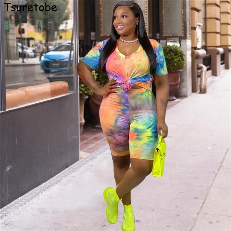 Tsuretobe Plus Size Tie Dye Print 2 Piece Set Women Tracksuit Summer Outfits Tee And Biker Shorts Matching Sets Clothes XL-4XL