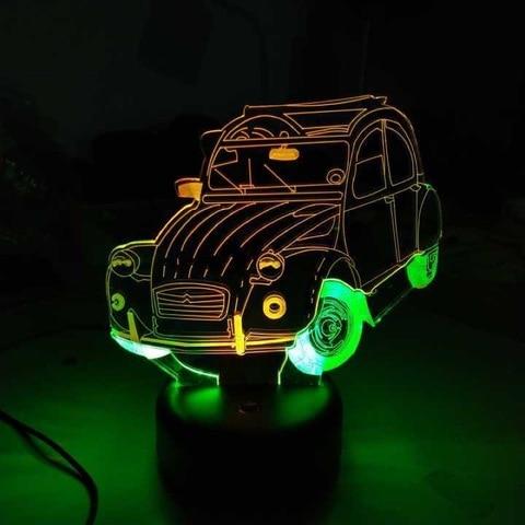 carro led 3d luz mutilcolor acrilico luz