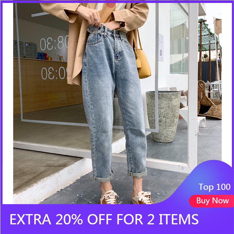 MISHOW 2020 Spring Summer Jeans Women High Waist Ankle Length Casual Pants Female Dimin Trousers Streetwear MX20A2388