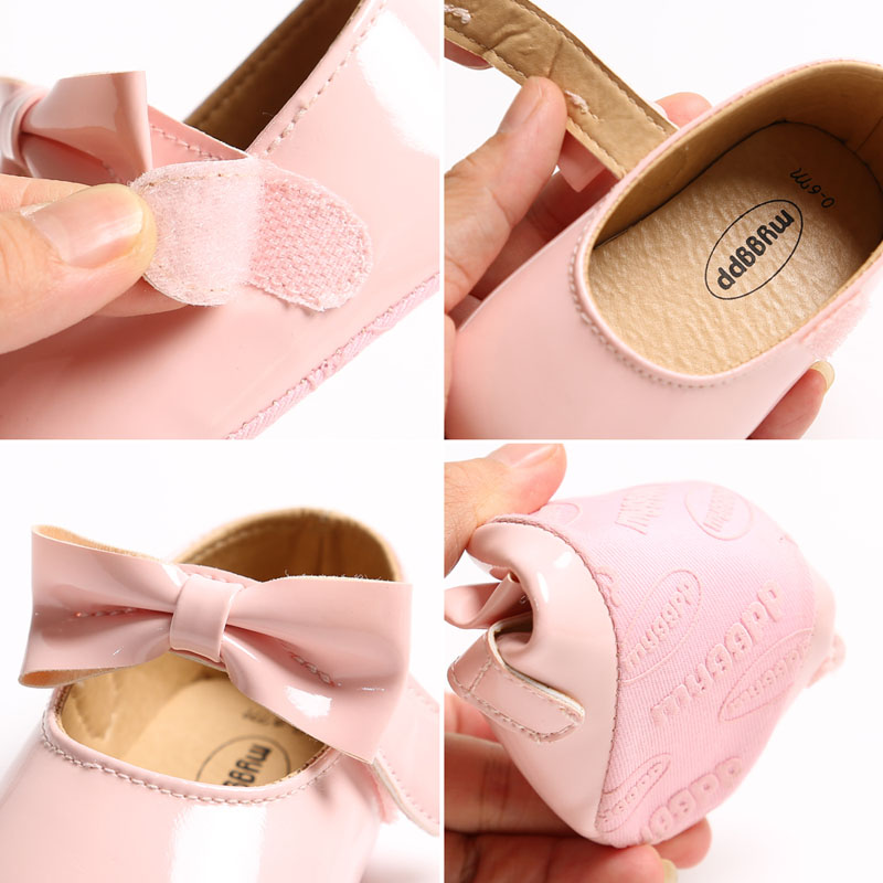 Newborn Baby Girls Shoes PU leather Buckle First Walkers With Bow Red Black Pink White Soft Soled Non-slip Crib Shoes | Happy Baby Mama