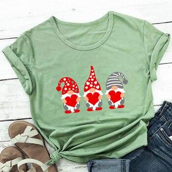 #S0 Women Harajuku Tshirt Love Assortis Gnome Print Round Neck Funny Kawaii T Shirt Graphic Tees Tops Valentine's Day Gift 4