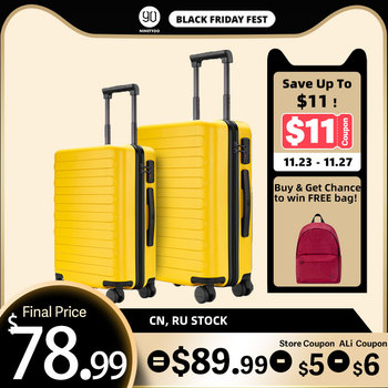 NINETYGO 90FUN 20 24 Inch Set Carry On Luggage Spinner Lightweight Hardshell Suitcase with TSA Lock for Travel Business Black carry on lightweight 4 wheel spinner expandable upright suitcase
