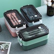 Novo caixa de almoço bento box para estudante escritório trabalhador dupla camada microondas aquecimento recipiente de almoço recipiente de armazenamento de alimentos