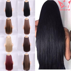 WERD Natural Long Straight Hair Women's Hair Clip Black Brown High Temperature Chemical Fiber Synthetic Hair Extension Sheet