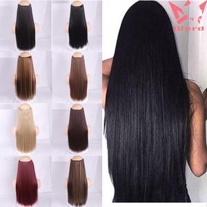 WERD Natural Long Straight Hair Women's Hair Clip Black Brown High Temperature Chemical Fiber Synthetic Hair Extension Sheet
