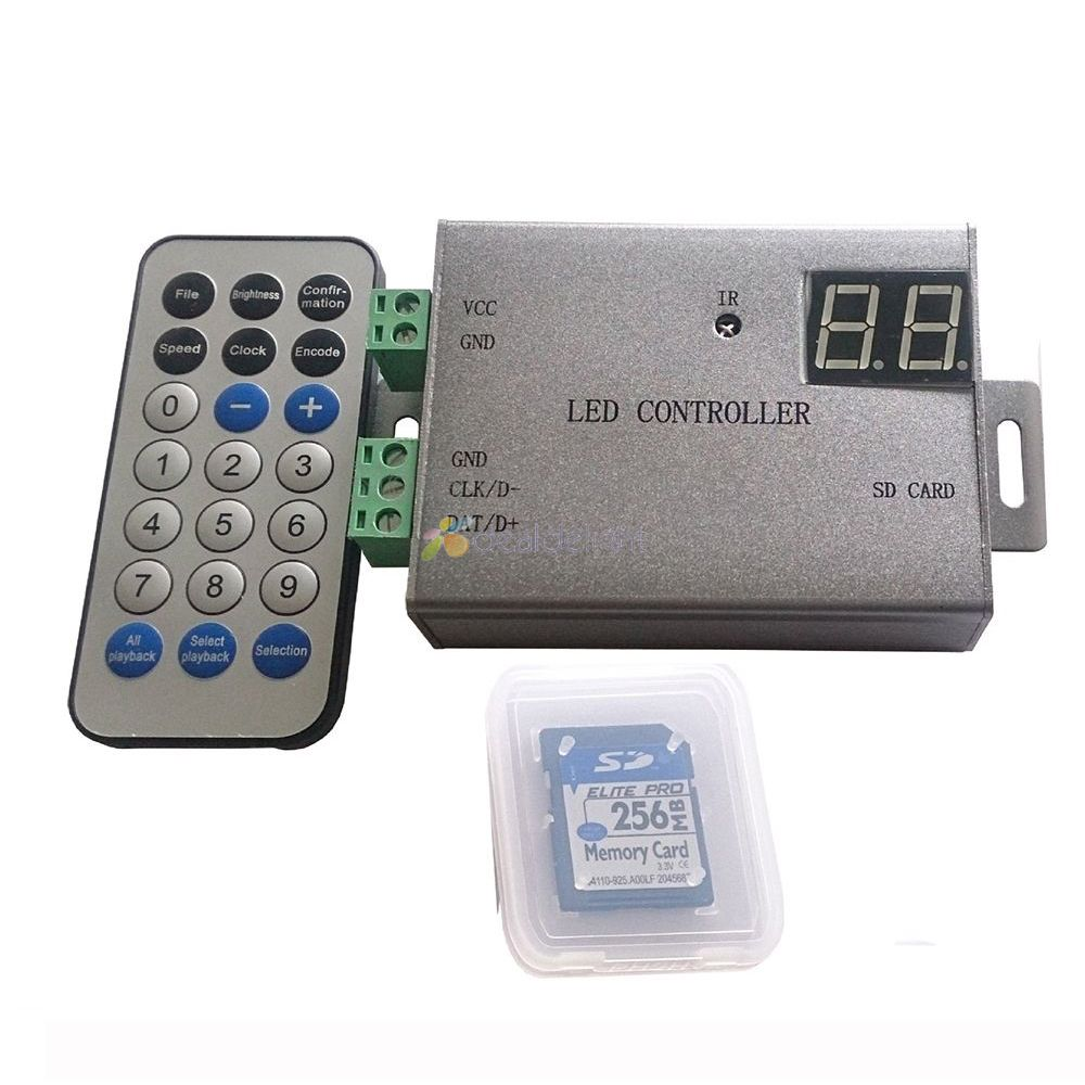 H805SB IR LED pixel controller SD card ,support WS2812 WS2811 APA102 DMX512 etc.1 port control 4096 pixel wireless control image