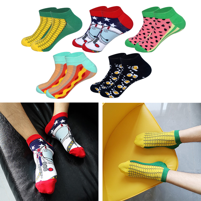 LIONZONE Watermelon Astronaut Corn Beer Hot Dog Men Socks Summer Spring Boat Sock Novelty Colorful High Quality Cotton Socks