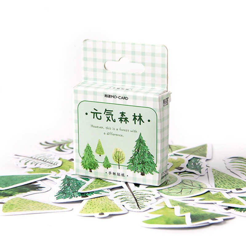Flores verdes bosque papel pequeño diario Mini japonés lindo caja pegatinas Set Scrapbooking lindo copos diario papelería escuela